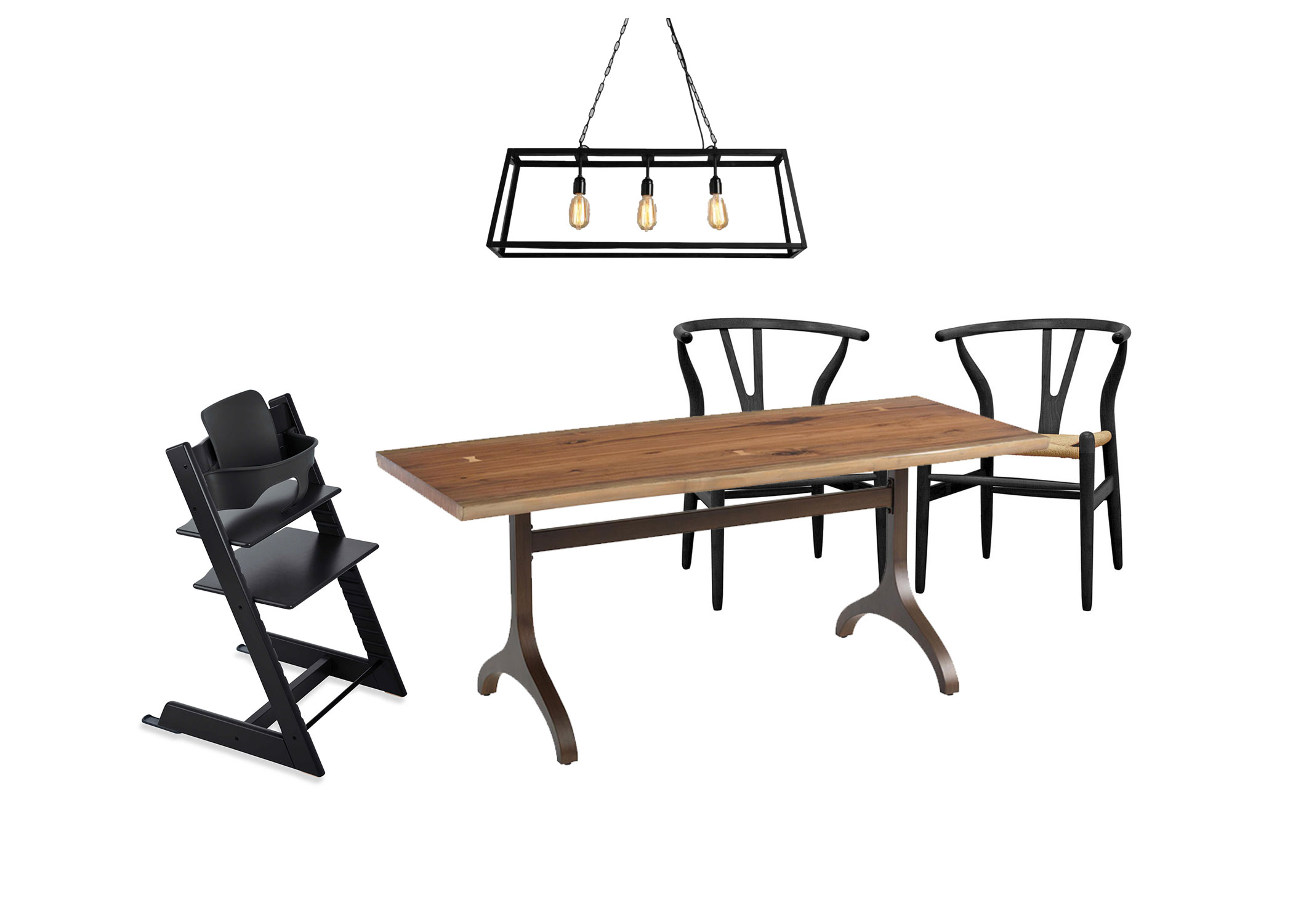 Modern Industrial Dining Room w/ Stokke Tripp Trapp Chair | That Baby Life | thatbabylife.com